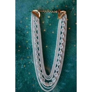 White Multi-Chain/Cluster Necklace